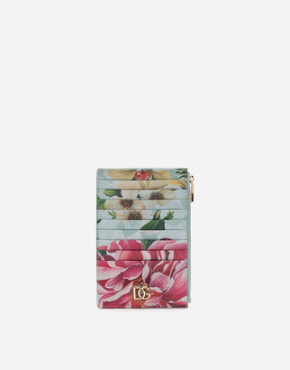 Dolce & Gabbana Large Vertical Credit Card Holder In Dauphine Calfskin With Floral Print