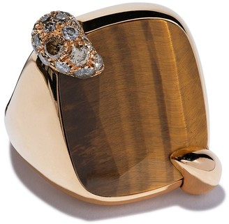 Pomellato 18kt rose gold Ritratto tiger eye and diamond ring