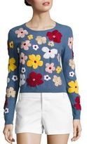Alice + Olivia Lucca Floral Embroidered Sweater
