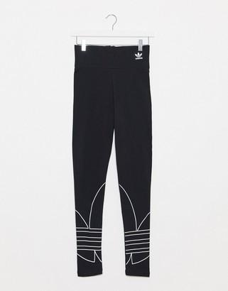 adidas large trefoil leggings in black