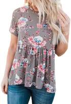 Dearlovers Women Casual Floral Print Short Sleeve Summer Tunic Blouse Tops Size Gray