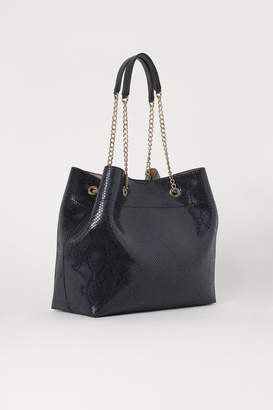 H&M Snakeskin-patterned Shopper - Black