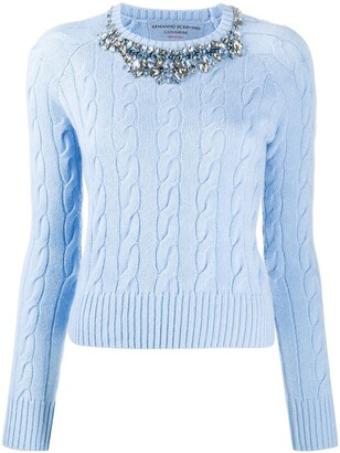 Ermanno Scervino Crystal-Embellished Collar Jumper