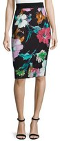 Milly Paper Floral-Print Midi Skirt, Black