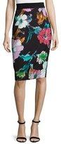 Milly Paper Floral-Print Midi Skirt, Black