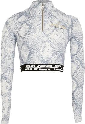 River Island Girls Grey snake foil print Active crop top