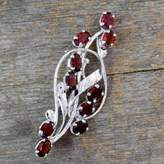 Floral Garnet and Sterling Silver Brooch Pin from India, 'Elegant Passion'
