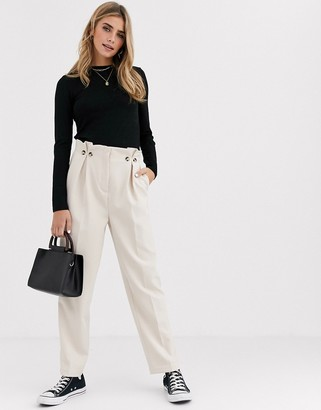 New Look button detail pleated pants in cream-Tan