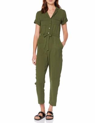 Dorothy Perkins Women's Khaki Linen Ultility Jumpsuit Green (Khaki 75) 12 (Manufacturer Size:12)