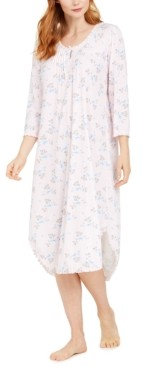 Miss Elaine Floral-Print Knit Long Nightgown