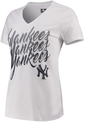 New York Yankees Women's G-III 4Her by Carl Banks White Game On V-Neck T-Shirt