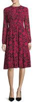 MICHAEL Michael Kors Long-Sleeve Garden-Print Tiered Dress