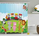 Cartoon Shower Curtain by Ambesonne, Kids Nursery Design Happy Children on a Choo Choo Train with Safari Animals Artwork, Fabric Bathroom Decor Set with Hooks, 70 Inches, Multicolor