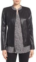 Via Spiga Petite Women's Leather & Ponte Jacket