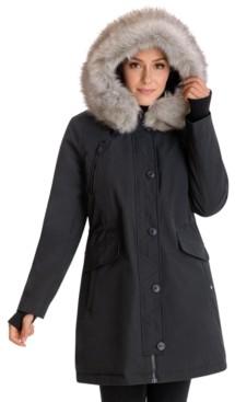 BCBGeneration Faux-Fur-Trim Hooded Water-Resistant Parka