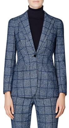 SUISTUDIO Cameron Windowpane Plaid Wool & Cotton Blend Blazer