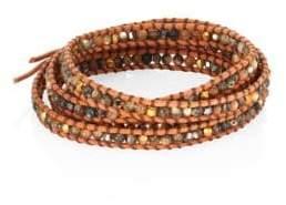 Chan Luu Abalone, Crystal& Leather Beaded Wrap Bracelet