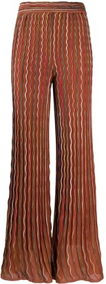 M Missoni Flared Sheer Piped Trousers