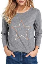 Hush Outline Star T-Shirt, Mid Grey Marl/Gold