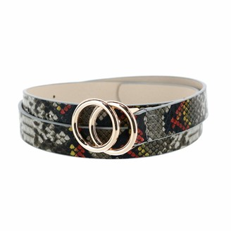 CTM Women's Snake Print Belt with Circle Buckle