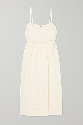 Madewell Pleated Embroidered Voile Wrap Dress - Cream