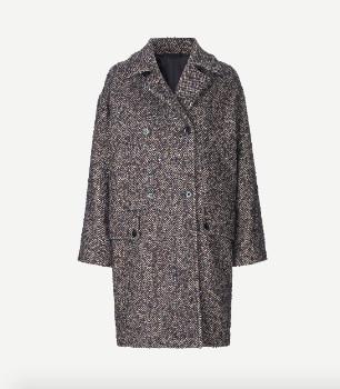 Samsoe & Samsoe Blue Melange Vibe Coat 11098 - wool | xs