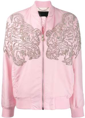 Philipp Plein embellished tiger bomber jacket