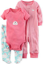 Carter's 3-Pc. Cotton Bunny Bodysuit, Coverall and Footed Pants Set, Baby Girls