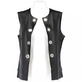 CNC Costume National Black Leather Knitwear