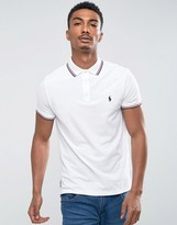 Polo Ralph Lauren Tipped Pique Polo Custom Regular Fit Polo Player In White
