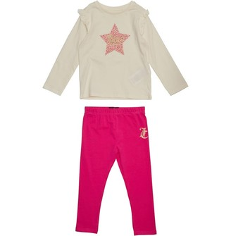 Juicy Couture Girls Juicy Leopard Star T-Shirt & Leggings Set Pink Yarrow