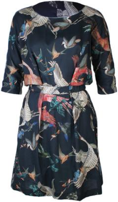 Format NEAT birds plain dress - M - Grey/Pink/Blue
