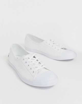 Lacoste Ziane canvas plimsoll sneakers in white