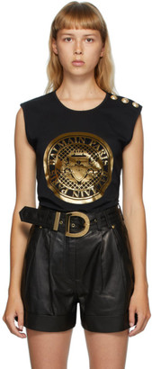 Balmain Black 3-Button Coin Tank Top