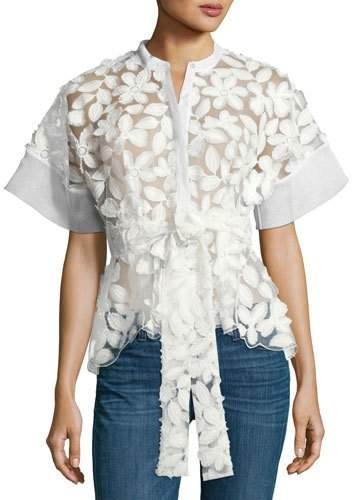 Alexis Danelle Floral-Embroidered Short-Sleeve Top