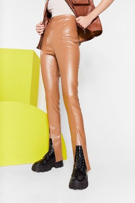 Nasty Gal Womens Hot Girl Slit Faux Leather Straight-Leg Pants - Taupe