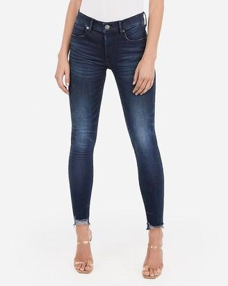 Express Mid Rise Denim Perfect Raw Hem Skinny Jeans