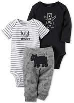Carter's 3-Pc. Cotton Hug Me Bear Bodysuits & Pants Set, Baby Boys (0-24 months)
