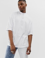 Asos Design DESIGN oversized t-shirt with half sleeve and turtle zip neck in white