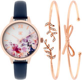 INC International Concepts Women's Navy Leather Strap Watch & Bracelet Set 34mm IN019RGNV, Only at Macy's