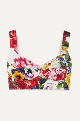 Dolce & Gabbana Floral-print Cotton-blend Twill Bra Top - White