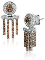 LeVian 1.02 TCW Diamonds and 14K White Gold Chocolatier Pierced Earrings