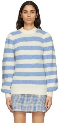Ganni White and Blue Alpaca Soft Sweater