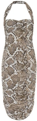 Norma Kamali Exclusive to Mytheresa Bill snake-print jersey halter dress