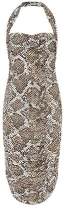 Norma Kamali Exclusive to Mytheresa Bill snake-print jersey halter dress