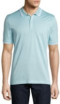 Salvatore Ferragamo Tape-Tipped Short-Sleeve Polo Shirt, Light Blue