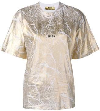 MSGM Gold metallic cracked T-shirt