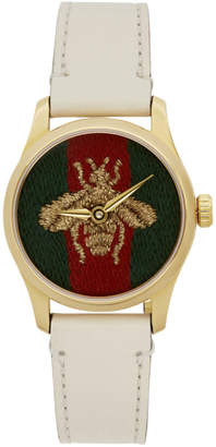 Gucci White G-Timeless Bee Watch