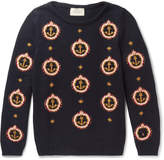Gucci - Anchor-Embroidered Cotton Sweater