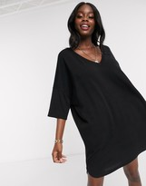 Asos Design DESIGN oversized v neck t-shirt dress in black